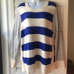Loft Mixed Stripe Blue and Ivory Sweater